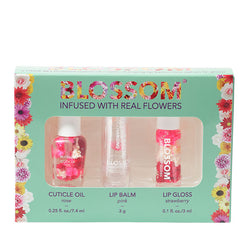 3 Piece Gift Set - Scented Cuticle Oil, Color-Changing Lip Balm, Mini Roll-On Lip Gloss