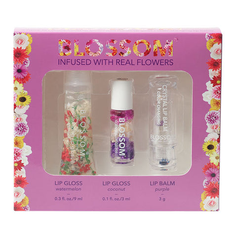 3 Piece Gift Set - Moisturizing Lip Gloss, Mini Roll-On Lip Gloss, Color-Changing Lip Balm