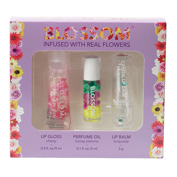 3 Piece Gift Set - Moisturizing Lip Gloss, Mini Roll-on Perfume Oil, Color-changing Lip Balm