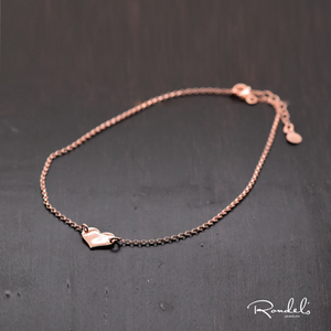 14K Rose Gold Heart Charm Anklet with Custom Engraving
