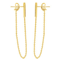 Yellow Gold Bar Earrings with Chain