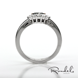 14K White Gold Black Diamond Tiara Stackable Rings