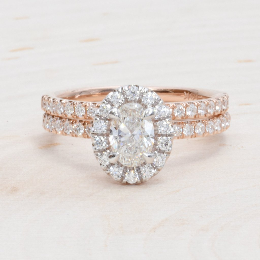 14K White & Rose Gold Oval Diamond Halo Engagement Set