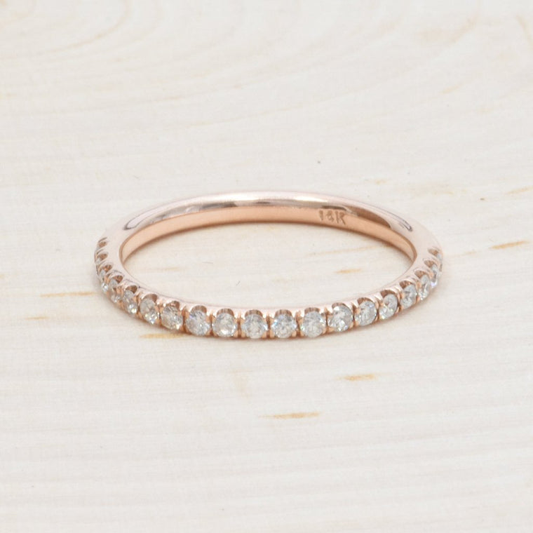 14K Rose Gold Ladies Diamond Band