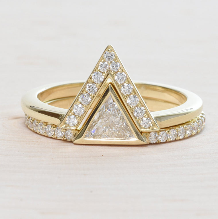 14K Yellow Gold Triangle Engagement Ring Set