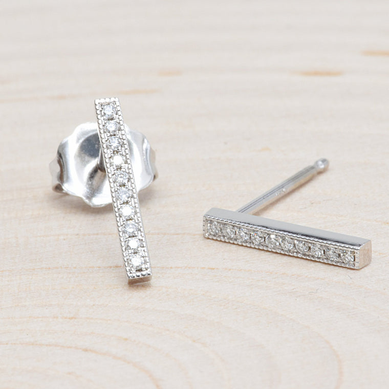 14K White Gold Bar Earrings
