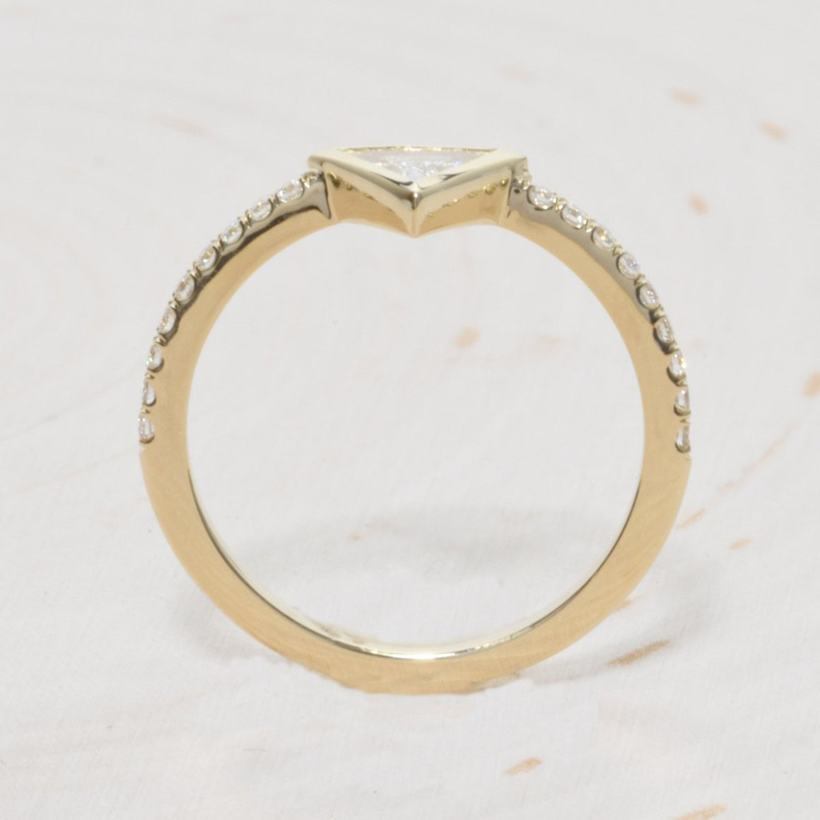 14K Yellow Gold Triangle Diamond Engagement Ring