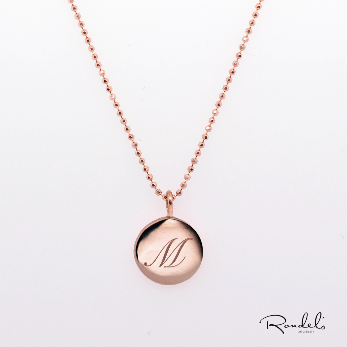 14K Rose Gold Monogram Necklace
