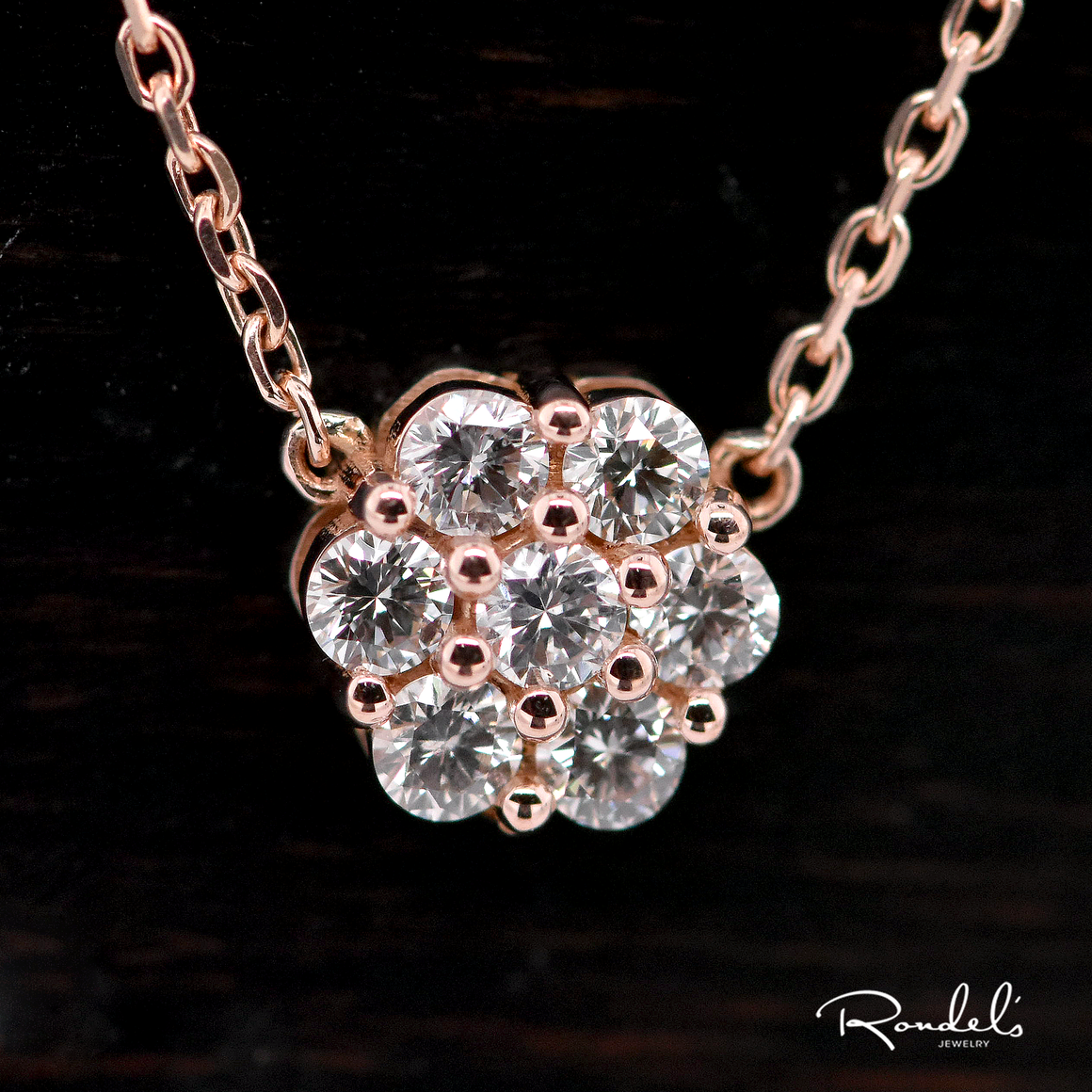 14K Rose Gold Diamond Flower Pendant Necklace