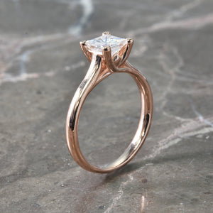 Rose Gold Princess Cut Moissanite Ring