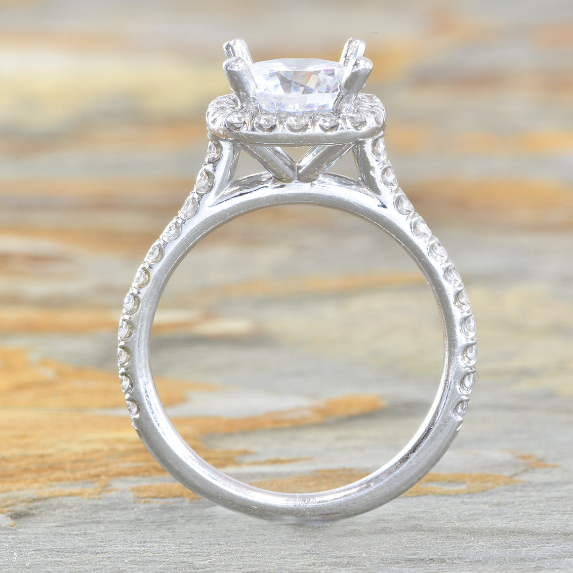 14K White gold pave halo diamond engagement ring