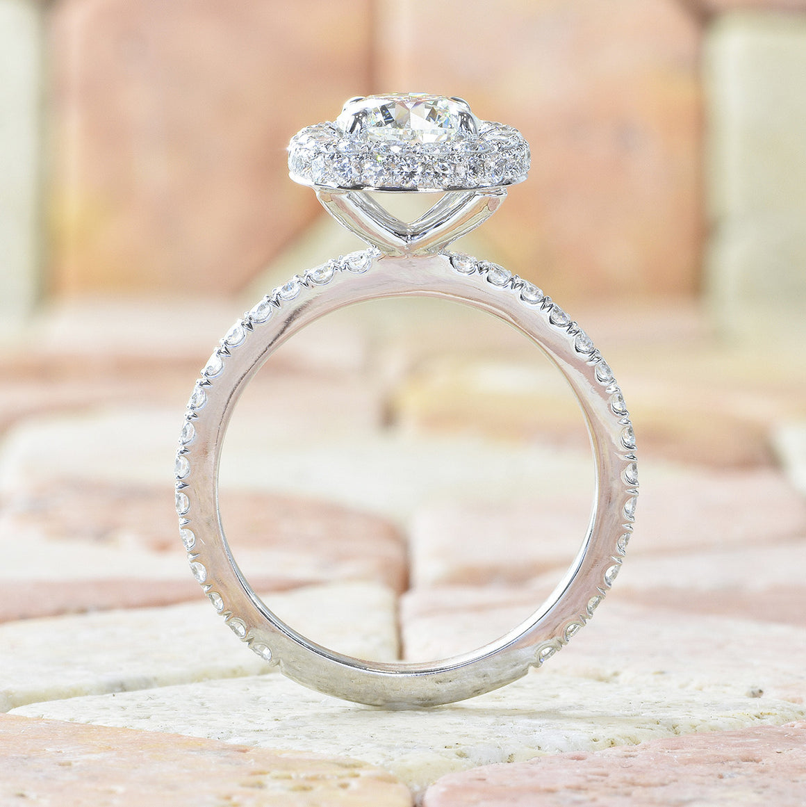 14K White Gold Delicate Double Edge Halo Design Engagement Ring