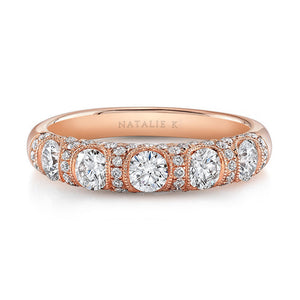 18K Rose Gold Vintage Five Diamond Fashion Band