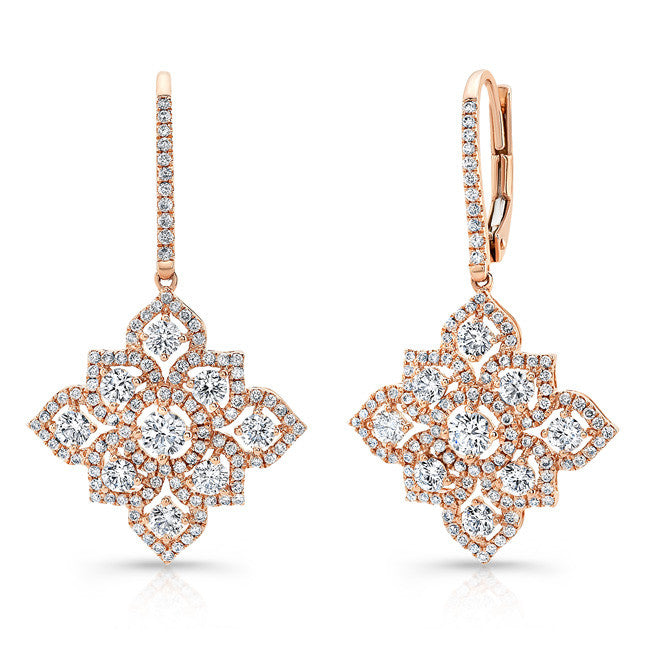 18k Rose Gold White Diamond Blossoming Drop Earrings