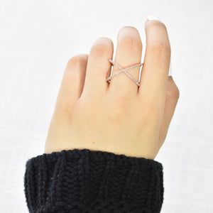 14K Rose Gold Floating X Ring