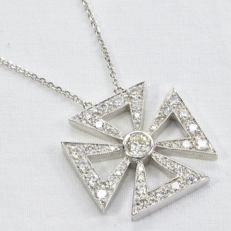 14K White gold iron cross diamond pendant