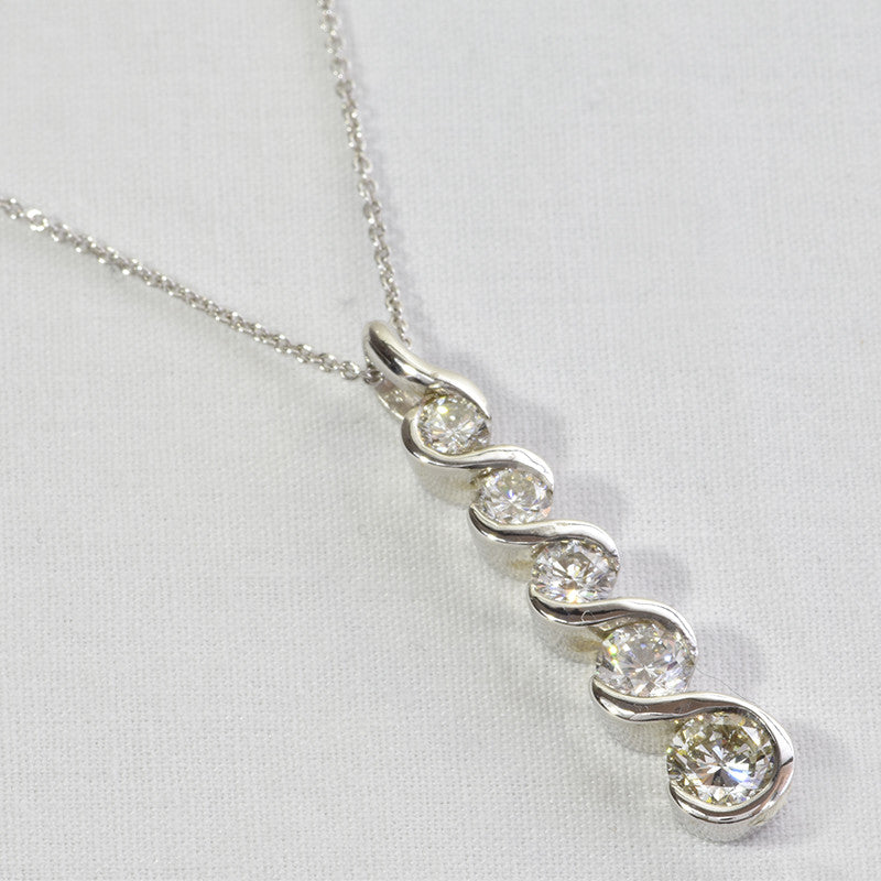 14K White Gold Diamond Strand Pendant