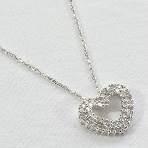 14K White Gold Diamond Heart Charm Necklace