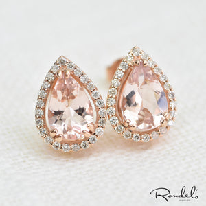 14k Rose Gold Morganite Stud Earrings With Diamond Halo