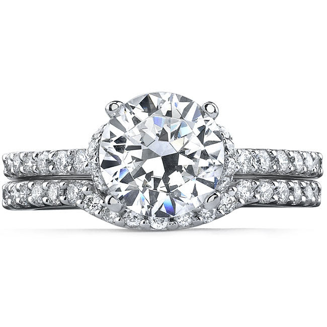 14k White Gold Modern Pave Round Diamond Bridal Set