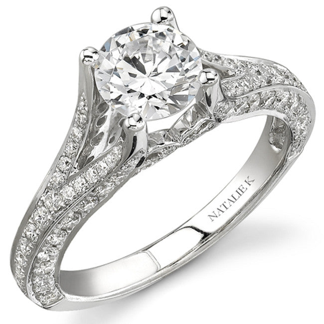 14k White Gold Pave Round Diamond Bridal Set