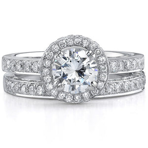14k White Gold Elegant Diamond Halo Bridal Set