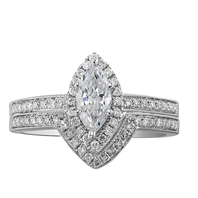 14k White Gold Marquise Halo Diamond Semi Mount Ring Bridal Set