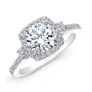 14k Diamond Halo Three Stone Diamond Engagement Ring