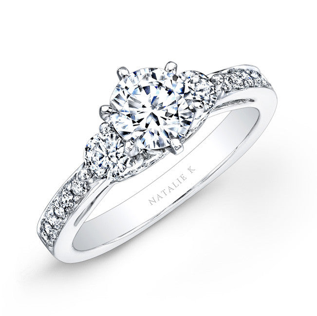 14k White Gold Pave Prong Three Stone Diamond Engagement Ring
