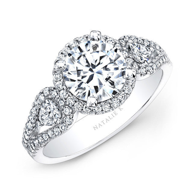 14k White Gold White Diamond Halo Engagement Ring with Pear Shaped Side Stones