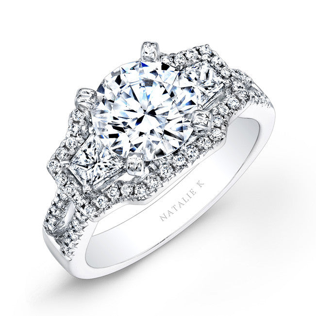 14k White Gold Split Shank White Diamond Engagement Ring with Trapezoid Side Stones