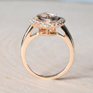 Pink Pear Morganite Ring