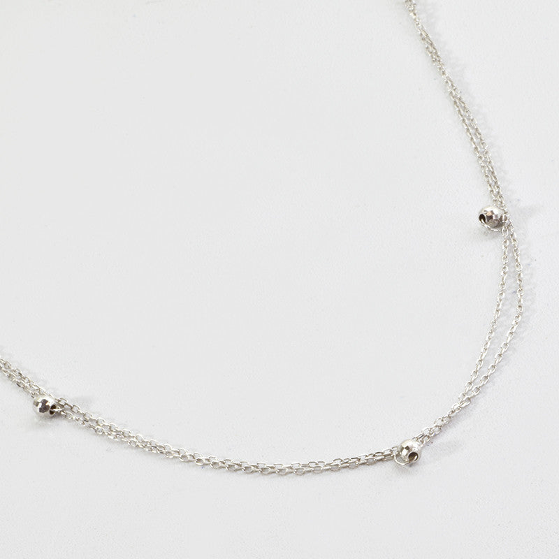 14K White Gold Bead Anklet
