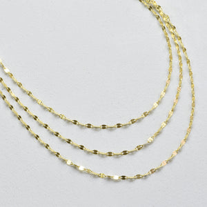 14K Yellow Gold 3 Row Twisted Chain Necklace