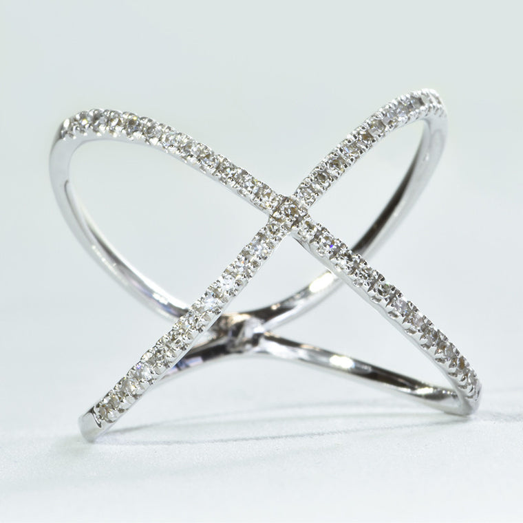 14K White Gold X Ring