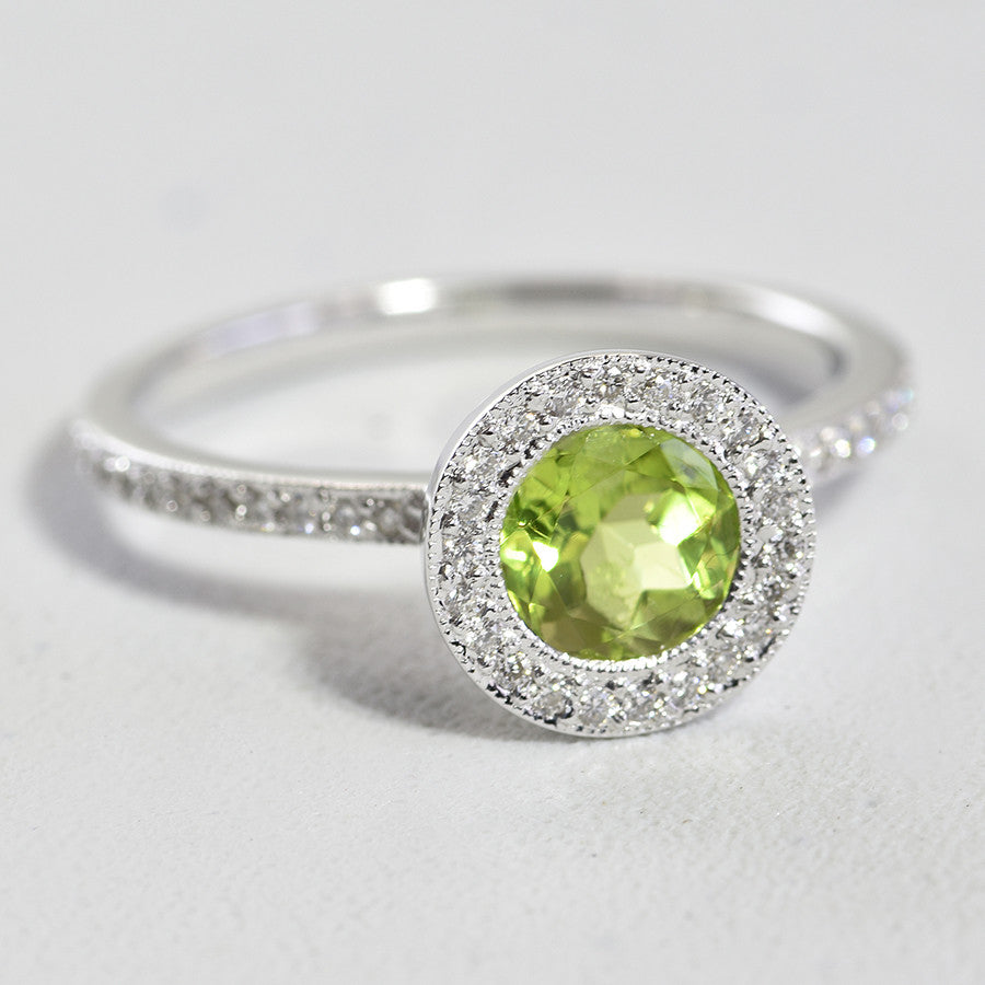 14K White Gold Peridot Halo Diamond Ring