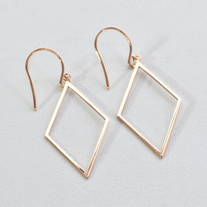 14K Rose Gold Diamond Shape Earrings