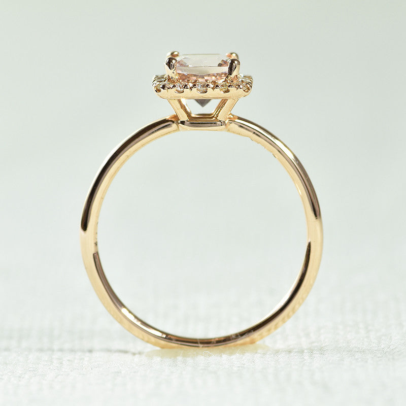 14K Rose Gold Diamond Halo, Morganite Ring