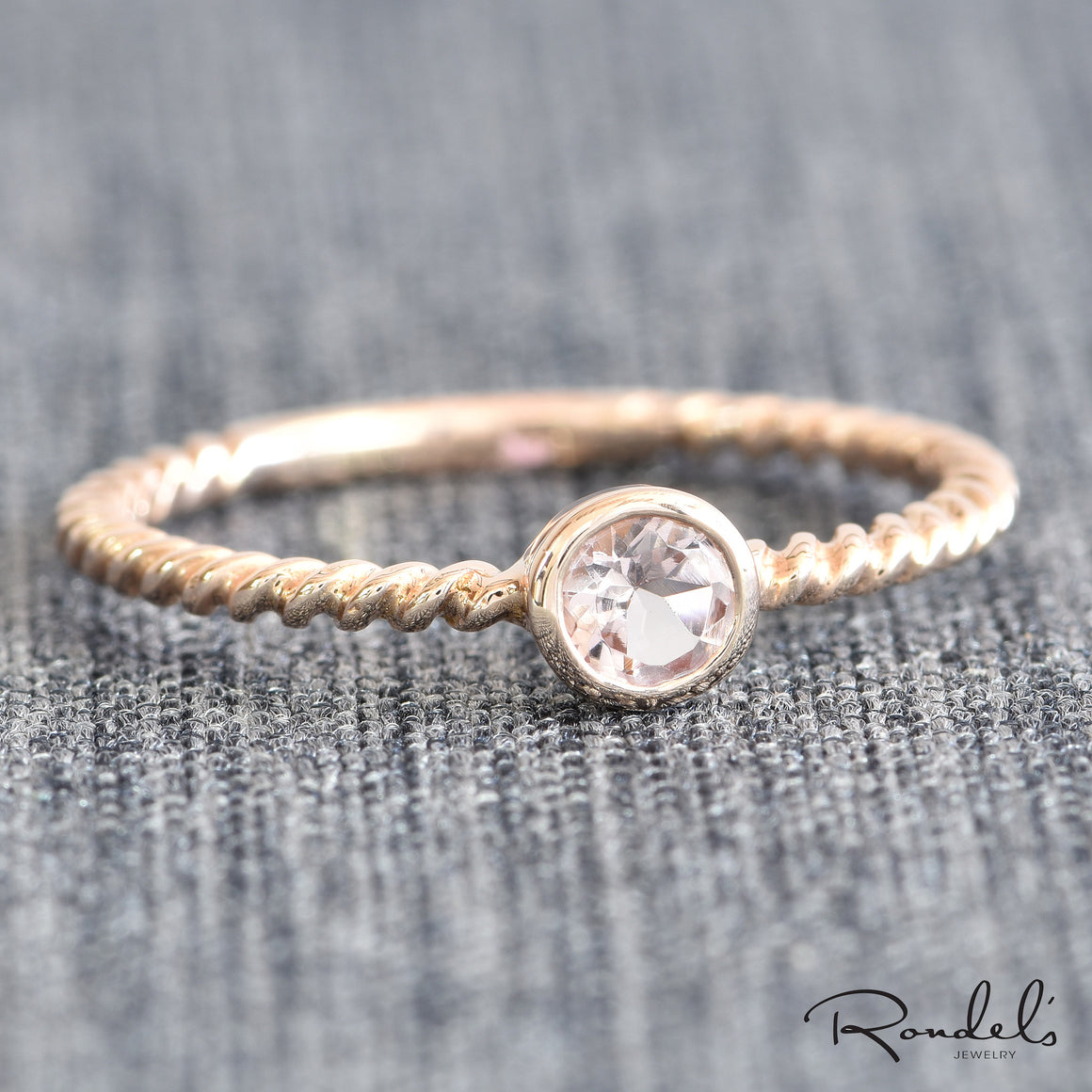 14K Rose gold solitaire Morganite ring