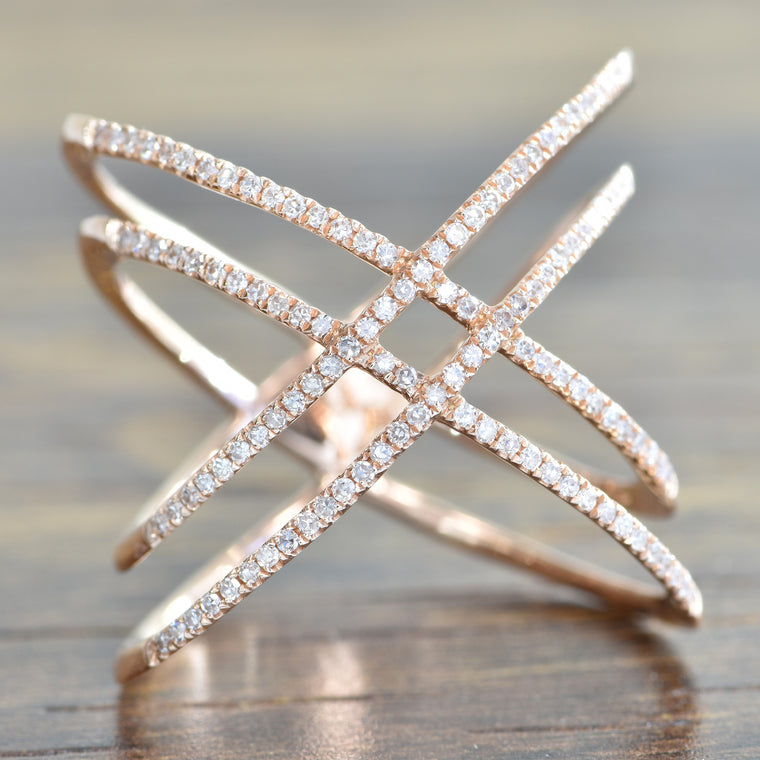 14K Rose Gold Double X Ring