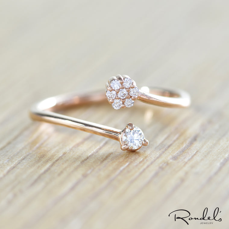 14K Rose Gold Split Diamond Midi Ring