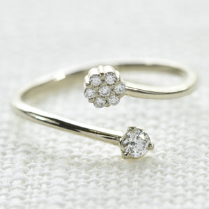 14K White Gold Split Diamond Midi Ring
