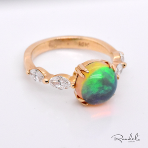 14K Yellow Gold Opal Ring with Marquis Diamonds