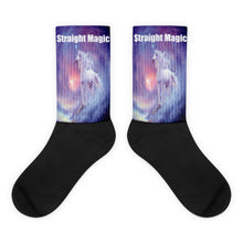 Straight Magic Unicorn Black foot socks
