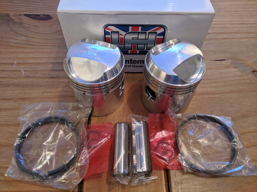 Triumph Pre Unit T100 500cc Piston set 9:1 +.040 - VintagePiston