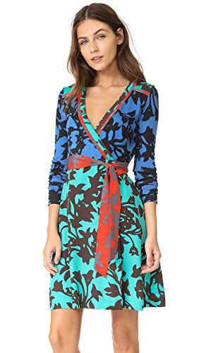 Diane von Furstenberg Women's Wrap Dress, Brulon Denim/Brulon Aquamarine, 4
