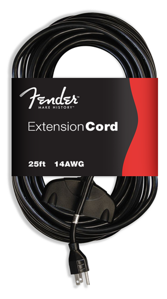 Fender 25' Extension Cord 120V, Black