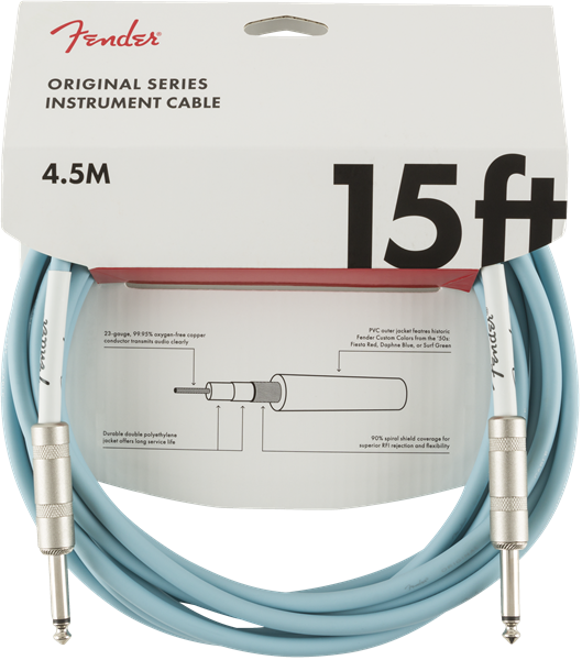 Fender Original Series Instrument Cable, 15', Daphne Blue