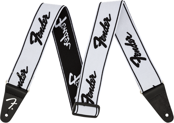 "Fender WeighLess 2"" Running Logo Strap, White/Black"