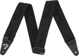 "Fender WeighLess™ 2"" Running Logo Strap, Black/Black"